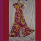 Palazzo Pants Splashy Lounger Housewear 1970s Maxi lounge wear hippie #104a