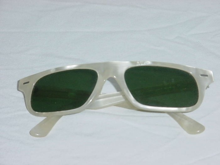 Vintage Sunglasses white pearly looking frame Green Lens No. 106