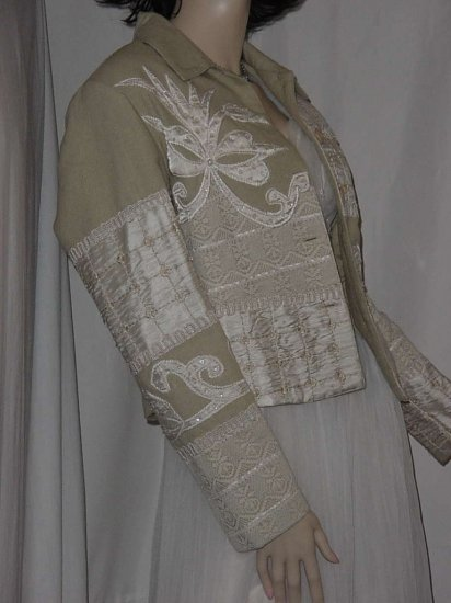 Fall Spring jacket lichen green with ivory appliques beads decorative designs XS No. 108