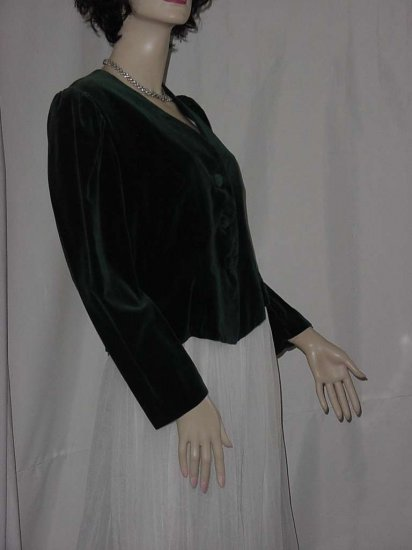 Forest Green Velvet jacket short cropped jacket No. 109
