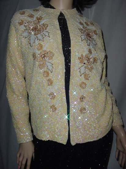 Beaded Sequin Vintage 1950s 1960s beaded sequined Formal Sweater Evening Wrap  No. 110