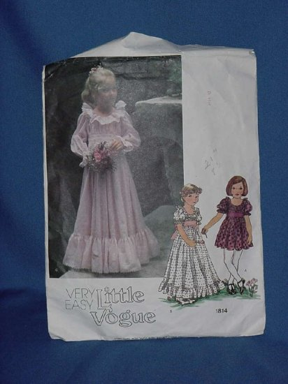 Vogue Very Easy Little Vogue 1814 dress used sewing pattern Child Girls size 4 cut No. 113