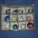 Vintage Lot of 12 large Glass or flocked Christmas ornaments Stenciled Designs Shiny Brite glass