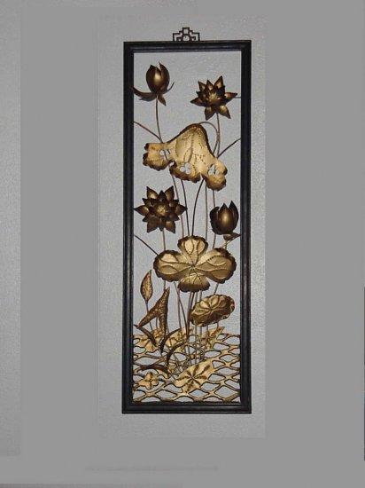 Metal wall sculpture water lilies Hollywood Regency Metal Flowers wall plaque metallic art
