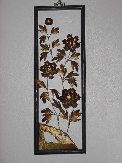 Floral Metal decorative wall sculpture Hollywood Regency Metal Flowers wall plaque metallic art