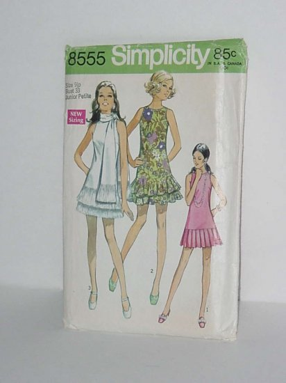 Simplicity dress 1969 Uncut 8555 Junior Petite No. 48