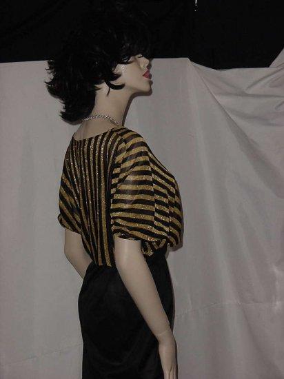 Gold Black stripe sheer surplice bodice blouse  No. 116