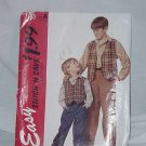 McCalls pattern Stitch n Save children's boys lined vest shirt pants 7205  No. 119
