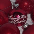 14 Glass Ornaments Red Christmas ornaments  No. 117