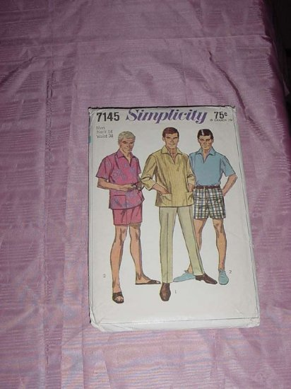 Vintage Uncut Simplicity Sewing Pattern 7145 Men's Shirt Pants Neck 16 Waist 38 No. 120