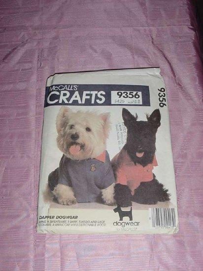 Uncut McCall's 9356 Dog sweatshirt t-shirt tuxedo lace collars raincoat detachable hood  No. 120