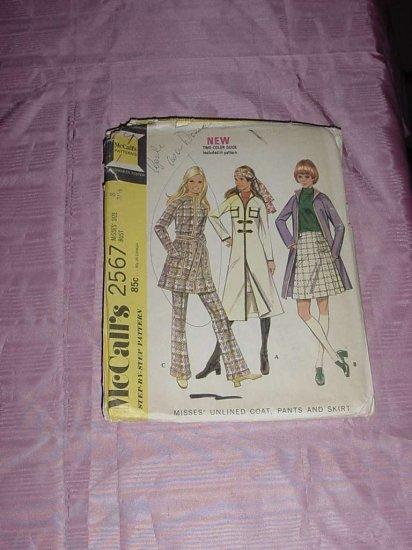 Uncut vtg Misses size 8 unlined coat pants skirt vtg McCall's  2567  no. 120