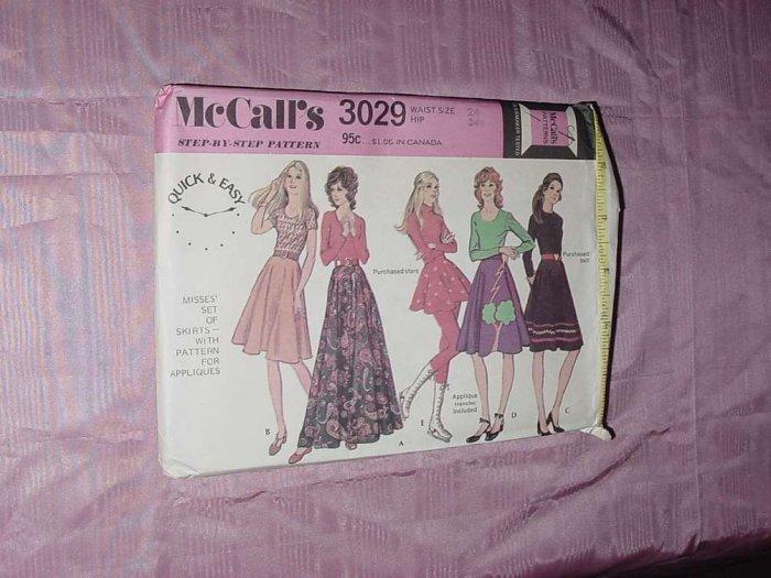 Uncut vtg McCall's skirt pattern 3029 Misses skirts appliques varied lengths  No. 120