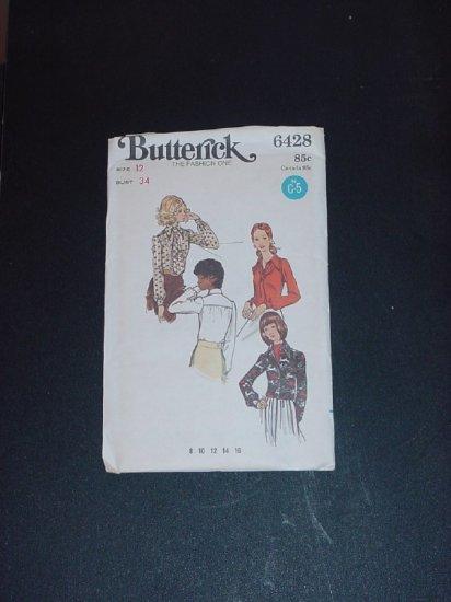 Vintage Blouse Shirt top Pattern Butterick 6428  Size 12 bust 34  No. 141