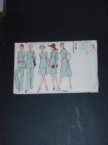 Vogue Pattern 7954 Womens Jacket Dress or top Skirt Pants Uncut No. 141