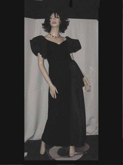 Vintage floor length velvet taffeta dress Puffy sleeves drape side form fitting  No. 85