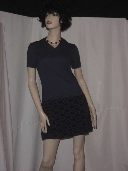 Charcoal Gray Vintage dress mini dress Hebel chenille hem  No.  85
