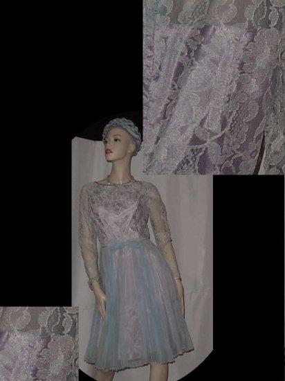 Blue chiffon taffeta 1950s vintage party dress flared skirt prom dinner dress  No. 120