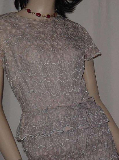 Dinner Party Dress Blue lace over taffeta 1950s vintage short sleeve sheath dress  Bust 34  No. 121