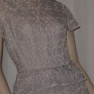 Dinner Party Dress Blue lace over taffeta 1950s vintage short sleeve sheath dress  Bust 34  No. 121