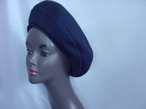 Womens vintage hat Saks Fifth Avenue Navy blue 1940s 1930s Pull down hat ladies hat  121
