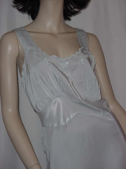 Nightgown Blue Lisbeth Vintage 1940s 1930s bias cut nightgown lace  119