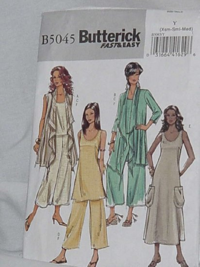 Butterick Fast Easy B5045 pattern uncut cover up top tunic dress pants Size Y xs-sml-med  No. 121