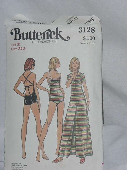 Used Butterick Pattern 3128 swim suit swim cover knit fabrics only  No. 121