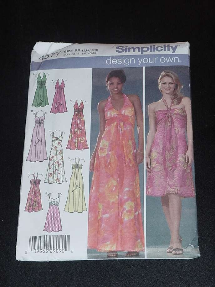 Simplicity Sewing Pattern 4577 evening dress bodice variations Size PP 12,14,16,18  No. 124