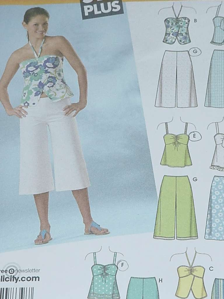 Simplicity Sewing Pattern gauchos shorts tops 4150 Size AA  5/6-15/16 Jr. Plus No. 124