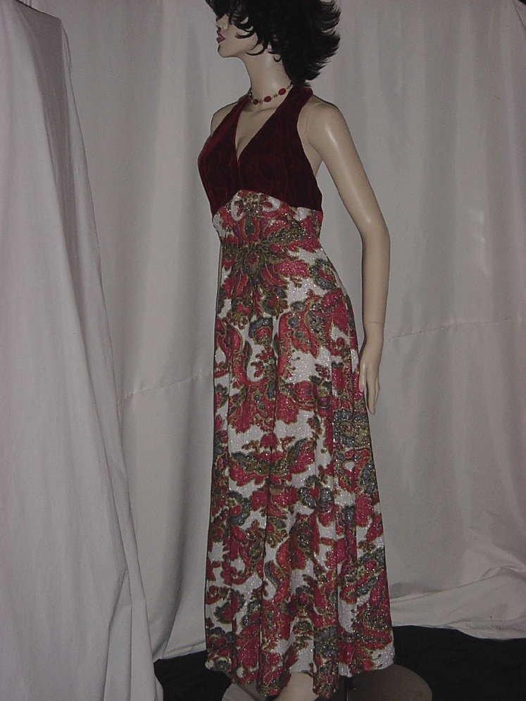 Vintage 1960s 1970s halter top dress Floor length Formal dinner Party Dress No. 124