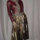 Helen H. Halpern Gold lame skirt gold thread jacket red rhinestones NO. 127