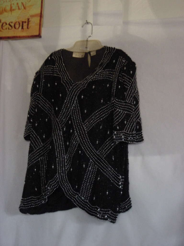 Evening top Laurence Kazar black sequin beaded blouse pullover 1X  top No. 128