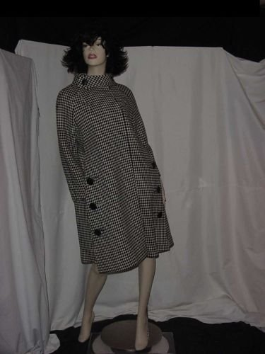 60s vtg Coat Wool swing Jacket Checked Tent black white