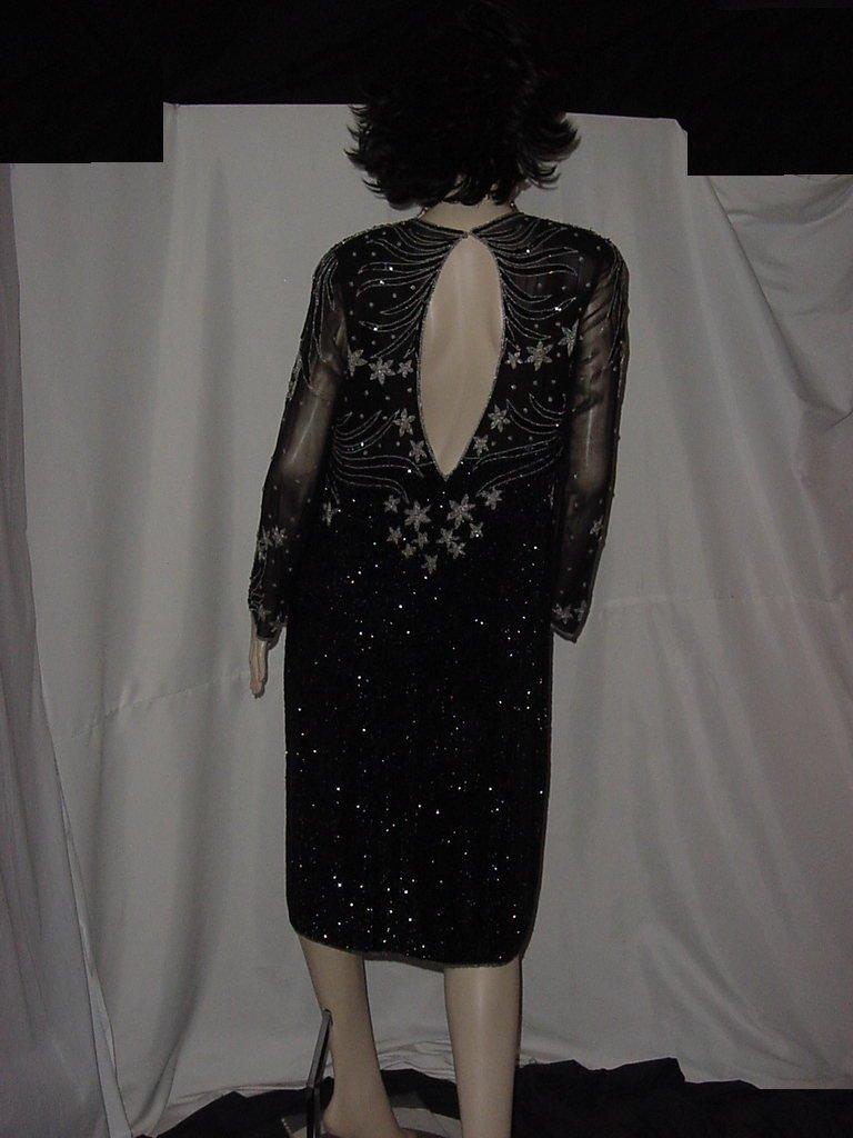 Vintage Dress Black Sequin Floral design beaded keyhole back  No. 133