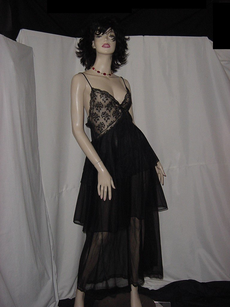 Sheer three tier Black Nightgown Lace Bodice Sheer skirt vintage night gown  No. 133