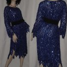 Royal Blue icicle hem Swee Lo cocktail party dinner dress 1980s beads sequins  No. 133
