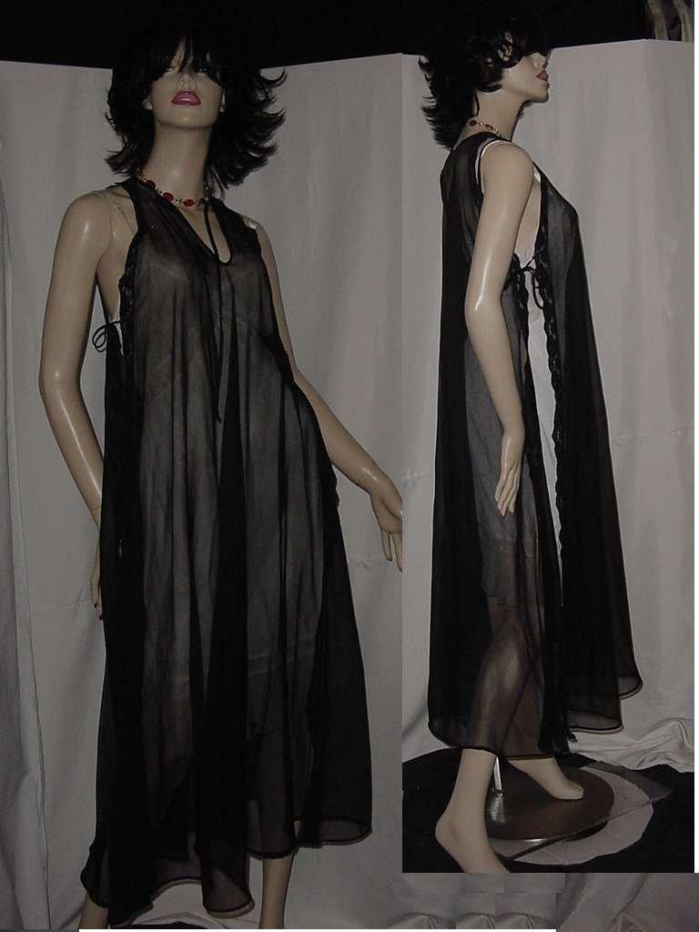 Sheer Black nightgown grecian open side vintage nightgown   No. 134