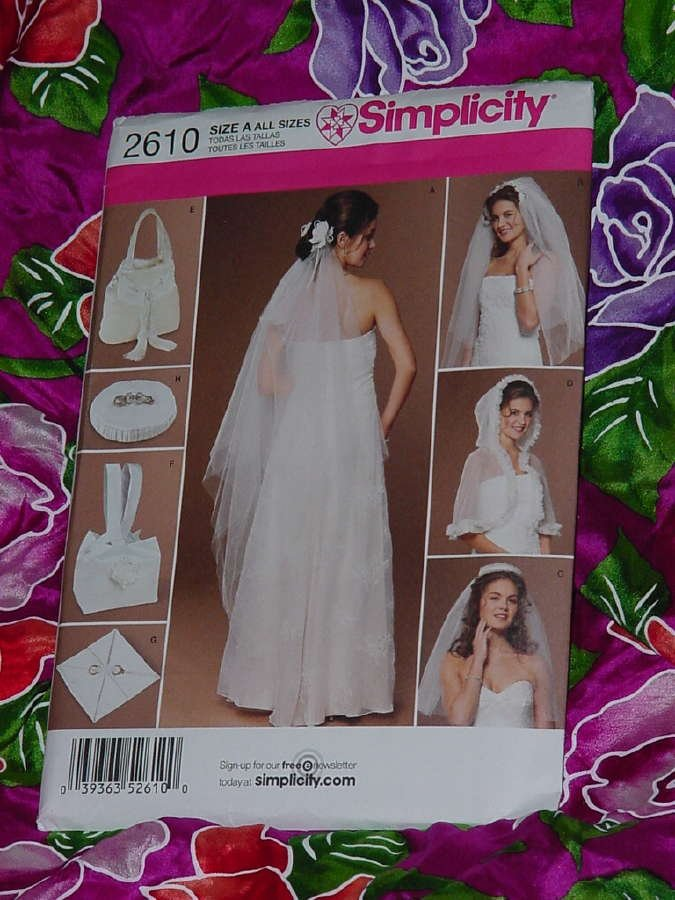 Bridal accessories capelet three sizes Simplicity 2610 Uncut Size A All sizes  No. 135