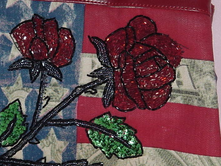 Red white blue purse red beaded roses sequin leaves No. 136