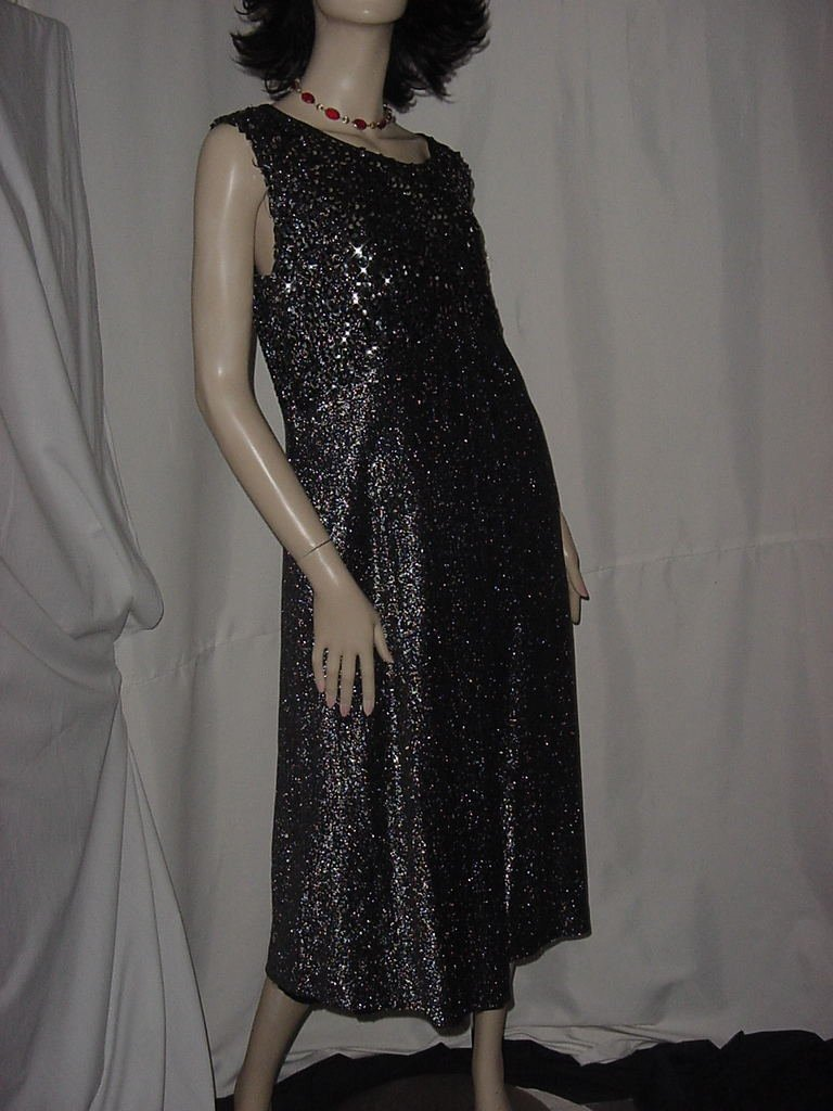 1970s Black silver dinner dress Claralura Originals semi formal dress Bust 42 No. 136