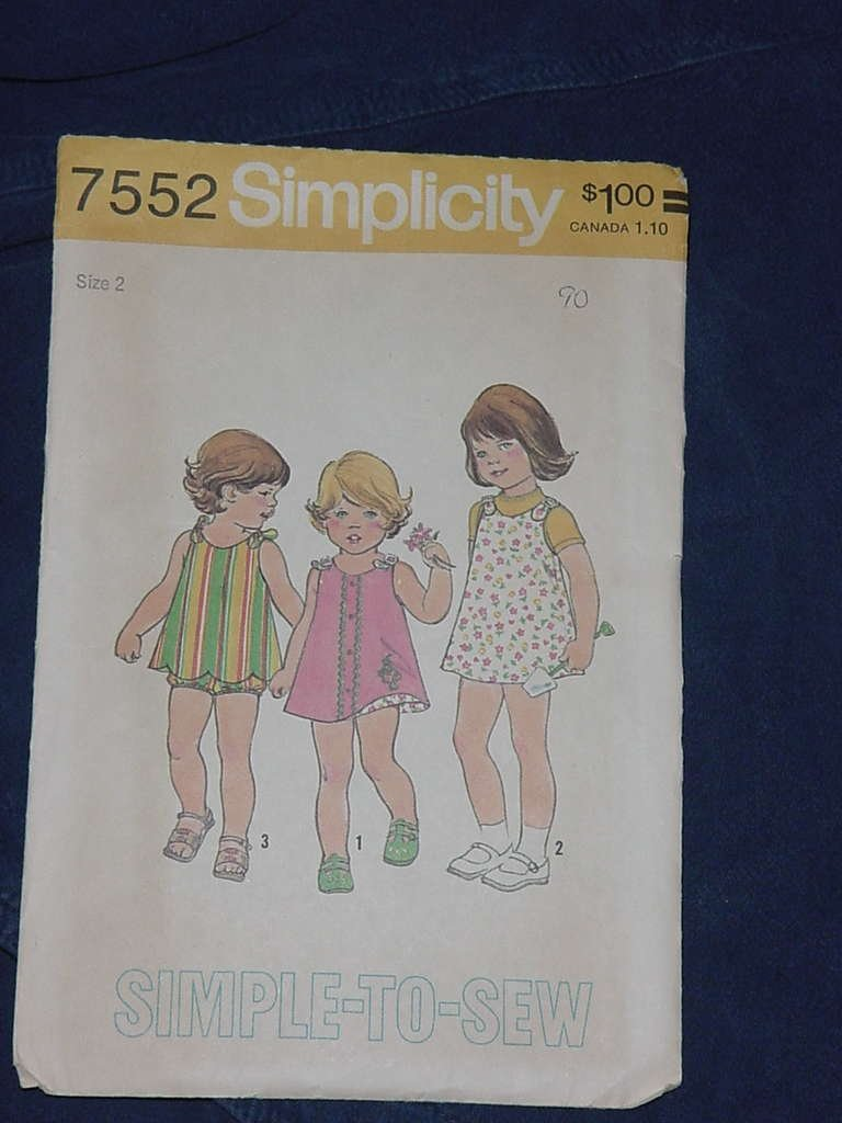 Toddlers' Size 2 dress, top bloomers Simplicity 7552  No. 136