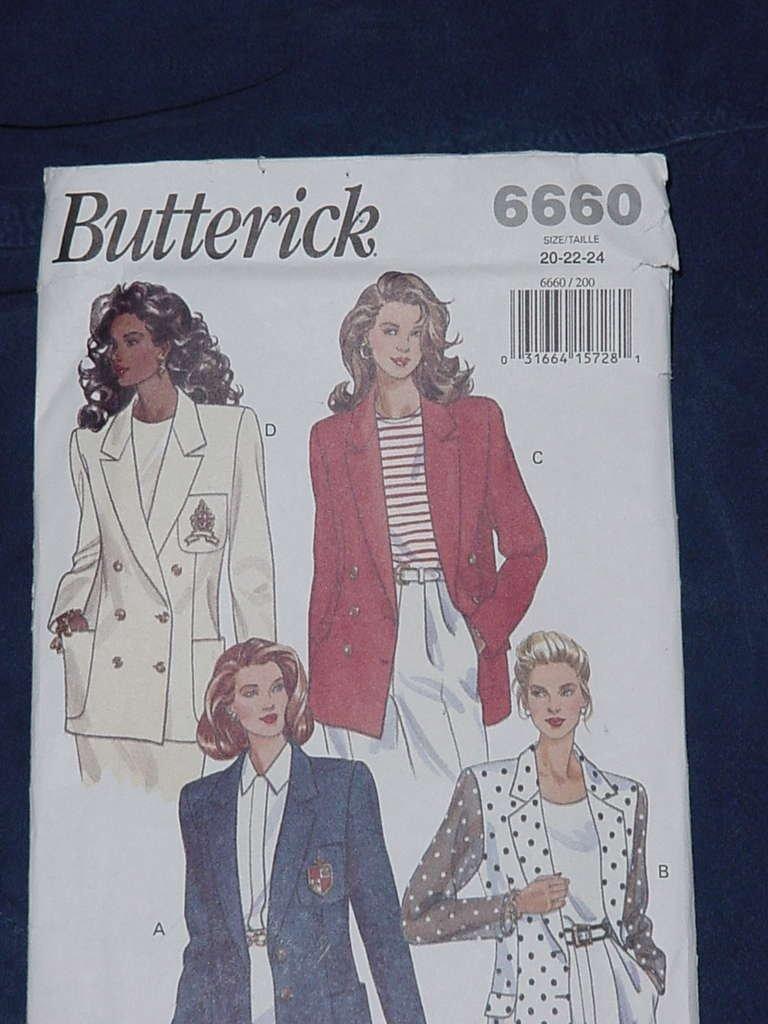Misses Jacket blazer Butterick size 20-22-24 Uncut No. 136