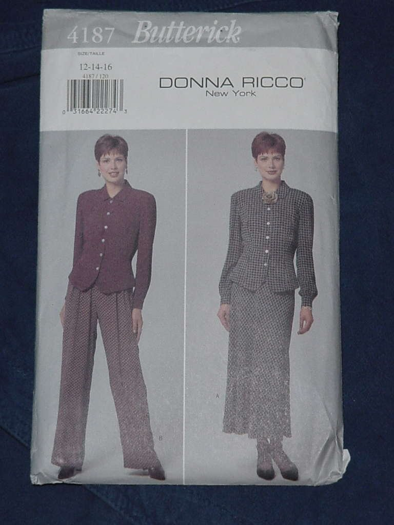 Misses Top Pants Skirt Size 12-14-16 Butterick Donna Ricco New York Uncut No. 136