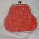 Vintage 1950s 1960s beaded purse Funky Halloween orange handbag  No. 137