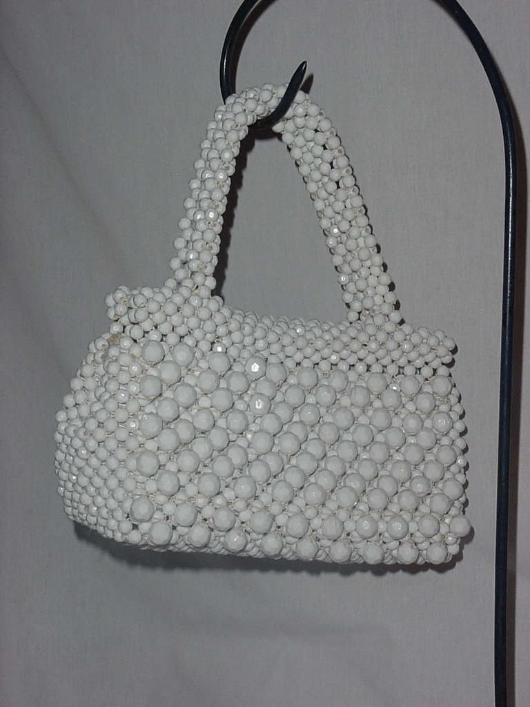 Vintage 1950s 1960s beaded purse Funky White beads Italy  No. 138