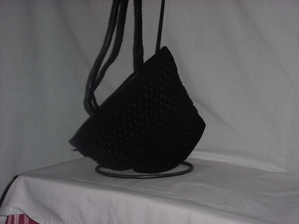 Black cloth handbag shoulder bag ribbon bag  No. 138
