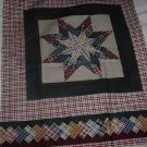 Patchwork 8 pointed star fabric panel quilt panel pillow panel No. 138