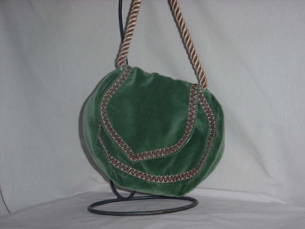 Soft fold over purse braided trim twisted strap No. 139