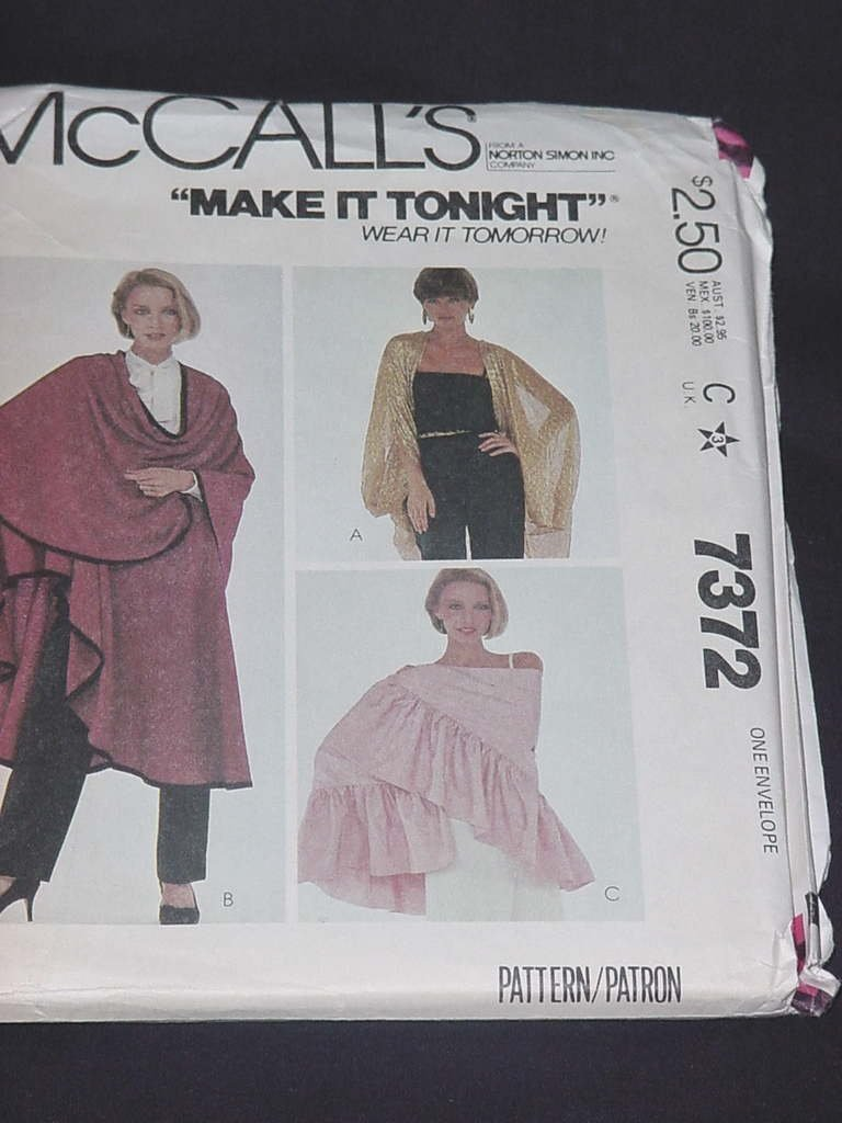 McCalls Pattern 7372 Uncut Misses Cover ups Shawls One Size Fits All  No. 139